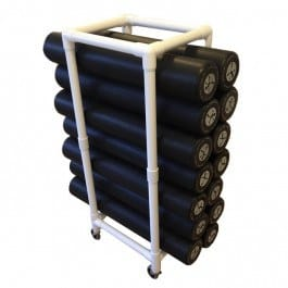 Foam roller rack i PVC med hjul (Hvid)